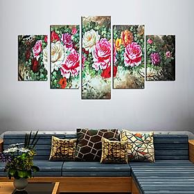 Tranh treo tường, tranh trang trí PP_ NT536 bộ 5 tấm ghép hoa mẫu đơn