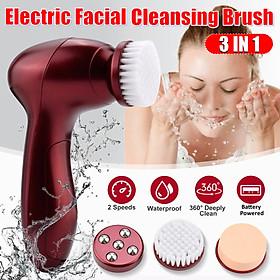 3 IN 1 Electric Facial Cleanser Brush Face Effective to Exfoliate Deep Pore Cleaner Scrubber Exfoliator Machine