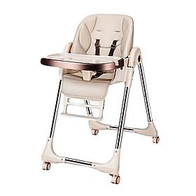 Ghế Ăn Dặm Cao Cấp bằng da, nâng hạ độ cao, nằm ngả cho trẻ từ 6 tháng - 6 tuổi (trọng tải 70kg)
