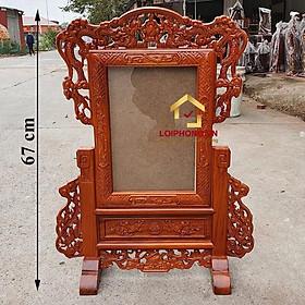 Khung ảnh thờ tứ linh đẹp bằng gỗ hương kích thước ảnh 20x30 cm