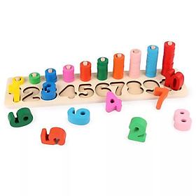Bộ logic toán học giúp bé học đếm, học số SK - Đồ chơi gỗ