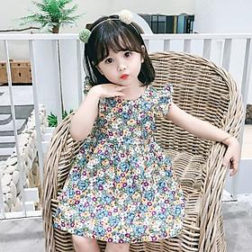 Váy, đầm bé gái mùa hè chất cotton công chúa hoạ tiết hoa nhí thoáng mát dễ thương QATE25
