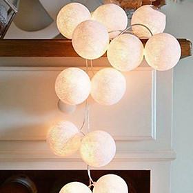 Dây đèn led 20 bóng cầu cotton nhiều màu trang trí phòng ngủ, sinh nhật, sự kiện, nhà hàng, khách sạn (tặng kèm pin tiểu AA)