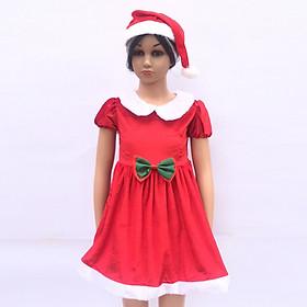 Set váy Noel nơ xanh kèm mũ cho bé từ 1 đến 6 tuổi