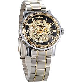 WINNER Men Automatic Watch Fashion Diamond Display Luminous Hands Gear Movement Retro Mechanical Skeleton Watches Luxury