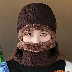 Mũ len kèm khăn choàng cổ giữ ấm thời trang mùa đông cho nam nữ