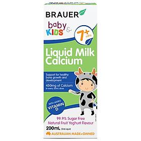 Canxi dạng sữa và Vitamin D Brauer Baby & Kids Liquid Milk Calcium cho bé từ 7 tháng tuổi (200ml)