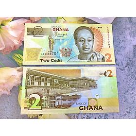 Tiền 2 Cedis Ghana xưa sưu tầm , mới 100% UNC, tặng túi nilon bảo quản