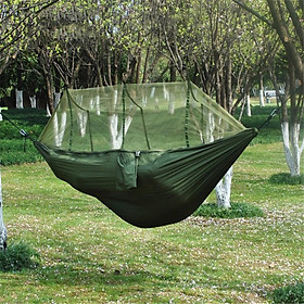 1-2 Person Portable Outdoor Camping Hammock With Mosquito Net High Strength Hanging Bed Sleeping Swing