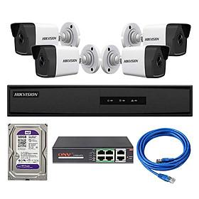 Trọn Bộ 4 Camera IP PoE Hikvision 2.0MP Tầm Xa Hồng Ngoại 30M Chức Năng Cấp Nguồn Qua Mạng PoE - Hàng Chính Hãng