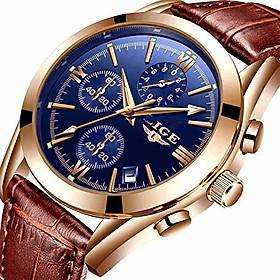 LIGE Mens Watch Leather Analog Quartz Wristwatch Men Date Business Dress Wristwatch Men's Casual Waterproof Sport Clock Black Brown…