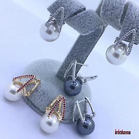 Bông tai bạc Ý Trai đen 12mm,Khuyên tai bạc hạt Ngọc đen-Minh Tâm Jewelry