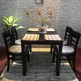 Bộ bàn ăn Cabin màu đen 4 ghế cao cấp