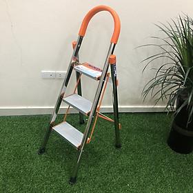 Thang ghế inox Ninda gia đình NDI-03- Chính hãng, 3 bậc, inox không gỉ, chân cao su chống trượt, bậc cao nhất sử dụng 75cm