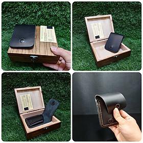 Ví Da Mini cao cấp Smart-Wallet thông minh trang bị nam châm – Đựng trong hộp gỗ cao cấp – 6 màu - Kèm mẫu da thử