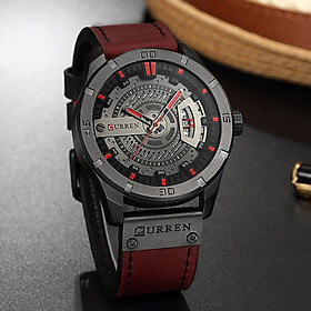 CURREN 30M Waterproof Men Calendar Watch Leather Band Analog Quartz Wristwatch for Business