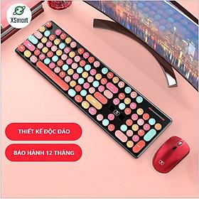 Bộ Bàn Phím Và Chuột Không Dây XSmart N620 Candy Hồng Nhiều Màu Sắc, Dùng Cho Máy Tính, Laptop, PC - Hàng Chính Hãng