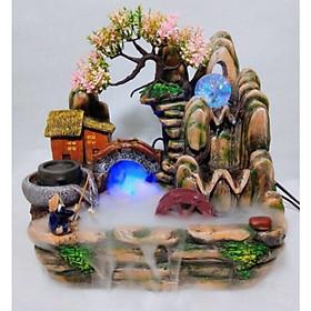 Thác Nước Phong Thủy Tiểu Cảnh Ngư Ông Câu Cá Bên Ngôi Nhà, Cây Hoa Đào Nở- Trang Trí Nhà Cửa, Biếu Tặng