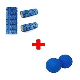 Con lăn massage giãn cơ Foam Roller kèm 1 bóng đôi Lacrosse Ball vật lý trị liệu màu ngẫu nhiên