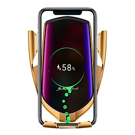 Sạc không dây thông dụng kiêm giá đỡ điện thoại màu Gold dành cho ô tô