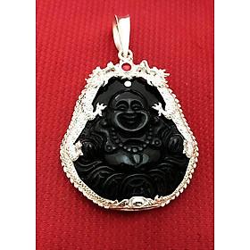 Mặt dây nam Di Lạc đá obsidian màu đen bọc đôi rồng bạc ta cao cấp trang sức Bạc QTJ - MDNA83 (Đen)