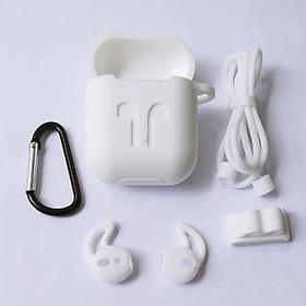 Phụ kiện chống rớt Airpods gồm hộp silicon đựng có móc khoá và dây silicon nối tai nghe quàng cổ, bao bảo vệ tai nghe, đế xỏ đồng hồ cho tai nghe Airpods (không gồm tai nghe)