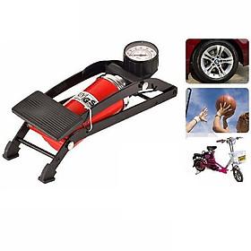 Bơm hơi đạp chân đa năng dùng cho xe đạp xe máy oto bóng phao bơi tiện dụng có đồng hồ đo áp xuất