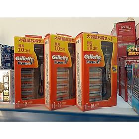 Sét Cán Kèm 10 Lưỡi Dao Cạo Râu Gillette Fusion 5+1 Nhật Bản