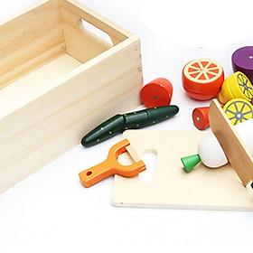 Bộ đồ chơi cắt rau củ bằng gỗ - hộp gỗ