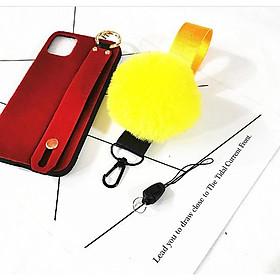 Dây đeo điện thoại - thẻ, móc khóa gắn quả bông mềm mại (Móc rút)