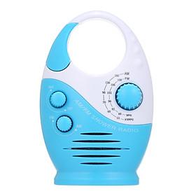 AM / FM Mini Shower Radio Bathroom Waterproof Radio Hanging Music Radio Built-in Speaker (Not Including Battery)