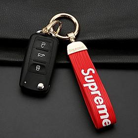 Di Galen personality trend car key chain creative couple key chain leather car key chain chain key chain men's female car supplies sup red + gold buckle