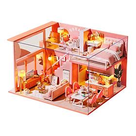 Creative Miniature Villa Dollhouse Mini Chair Table Sofa Lights Decor Ornaments