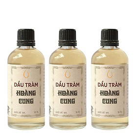 Combo 3 chai Dầu Tràm Nguyên Chất Chai Thủy Tinh Hoàng Cung Huế (50ml/Chai)
