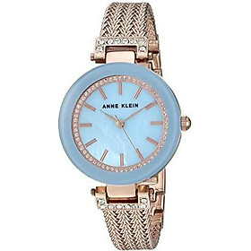 Đồng hồ nữ Anne Klein Women's Swarovski Crystal Accented Mesh Bracelet Watch - Light Blue/Rose Gold