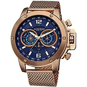Akribos XXIV Men's Conqueror Swiss Multifunction Silver-tone Stainless Steel Mesh Bracelet Watch