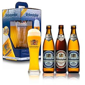 Combo 3 chai bia Đức Weihenstephan 500ml ( 2 Hefeweissbier + 1 Dunkel) + 1 Ly