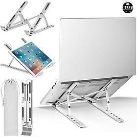 Giá Đỡ Laptop Hộp Kim Nhôm Cao Cấp, Có Thể Gấp Gọn Và Điều Chỉnh Dành Cho Macbook Ipad Surface Và Máy Tính Xách Tay 11-15.6 Inch - Hàng Chính Hãng