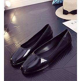 Giày búp bê mũi vuông màu đen, kem, đỏ, giày nhựa đi mưa, giày bệt đế bằng V188