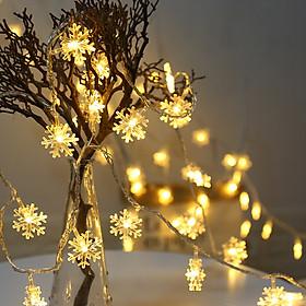 Dây đèn led - Đèn nhấp nháy trang trí noel, Tết hình hoa tuyết dài 2m chạy pin (Có kèm Pin)