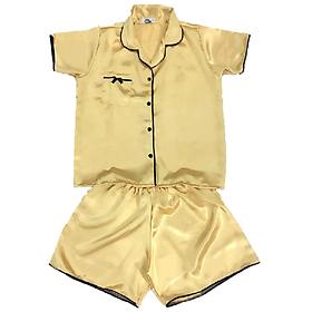 Đồ Mặc Nhà (Ngủ) Vải Satin Lụa Siêu Mát Pijama Thái SATINLUA01 - Vàng