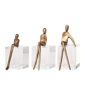 Bộ 3 tượng người nghệ thuật đế pha lê decor để bàn DCB2122
