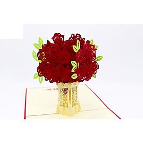 Thiệp 3D - Đóa hoa hồng - Món quà tình yêu - L60