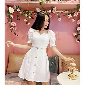 Đầm trắng thiết kế Thanh Lịch Cao Cấp may 2 lớp lót cotton mềm mịn