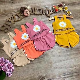 Combo 4 Bộ quần áo bé gái từ 8kg đến 35kg,vải cotton 100% mềm mại 4 chiều, thấm hút mồ hôi tốt, áo 2 dây,hình hoa cúc dễ thương