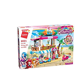 Bộ  đồ chơi lắp ghép, xếp hình Qman 2021 - Nhà hàng hải sản trên bãi biển