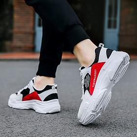 Giày Nam Thể Thao Sneaker Trắng Vải Dệt Đế Cao Su Nguyên Khối Siêu Êm Chân Phối Đen Đỏ Cực Chất Phong Cách Hàn Quốc (Hình thật) CTS-GN052-7