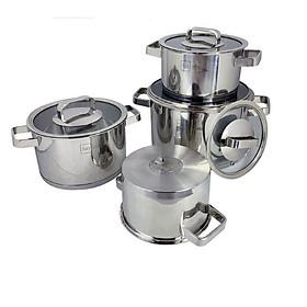 Bộ Nồi Inox 304 Fivestar Plush 3 đáy từ 4 Món Nắp Kính ( Tặng 10 Muỗng Ăn Inox )