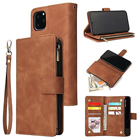 For iPhone 11 iPhone 11 pro iPhone 11 pro max PU Leather Side Magnetic Buckle Multi-card Bracket Full Protective Case with Zipper Wallet Style:iPhone 11 Pro