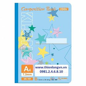 Sổ may dán gáy A4 - 200 trang; Klong 929 bìa xanh